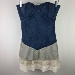 BCBG Strapless Denim Dress Ruffled Bottom NWOT